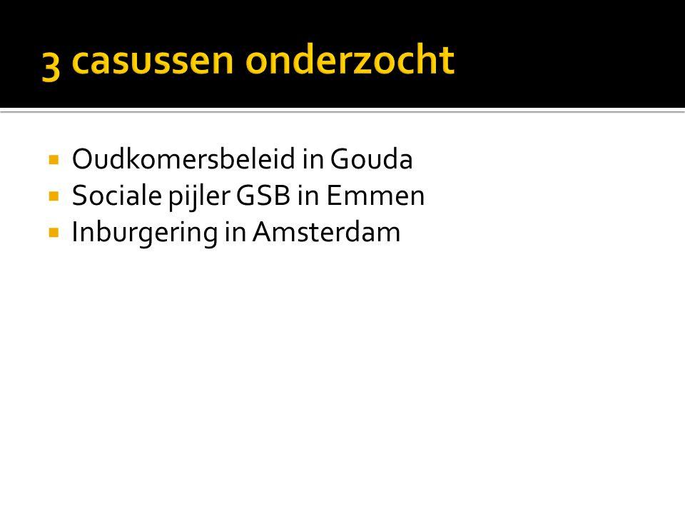  Oudkomersbeleid in Gouda  Sociale pijler GSB in Emmen  Inburgering in Amsterdam