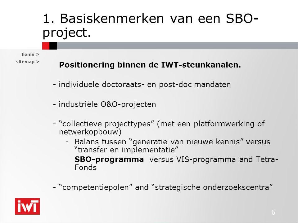 home > sitemap > 6 1. Basiskenmerken van een SBO- project. Positionering binnen de IWT-steunkanalen. - individuele doctoraats- en post-doc mandaten -