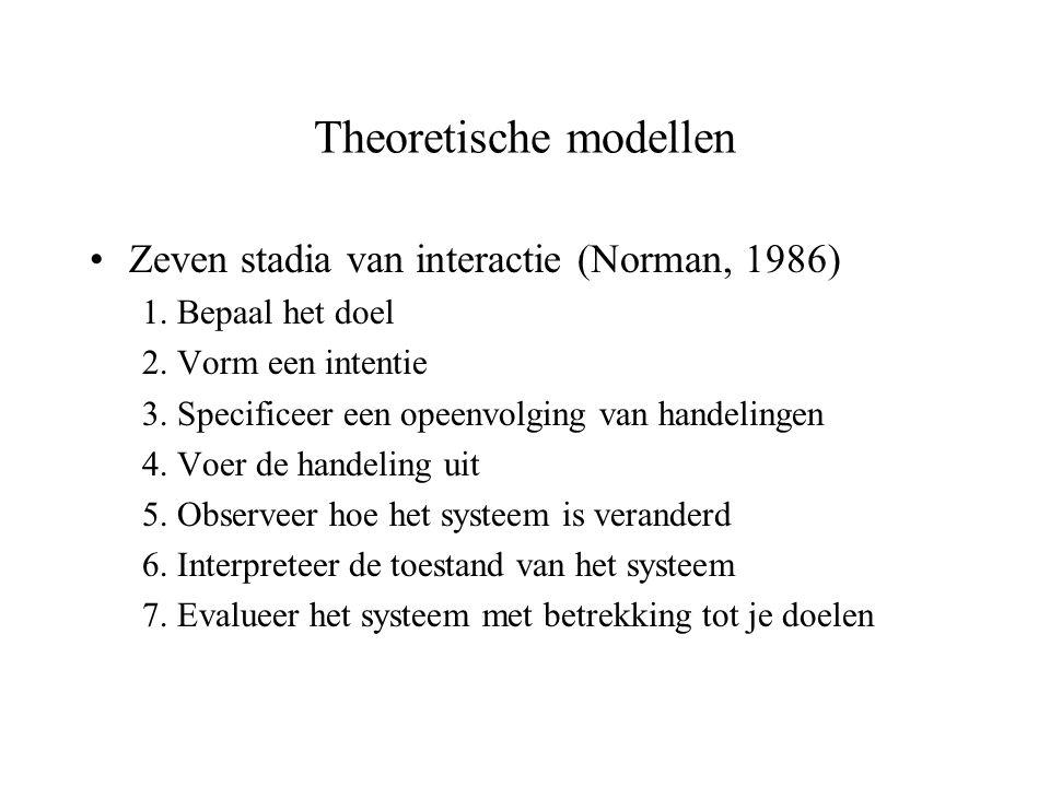 Theoretische modellen Zeven stadia van interactie (Norman, 1986) 1. Bepaal het doel 2. Vorm een intentie 3. Specificeer een opeenvolging van handeling