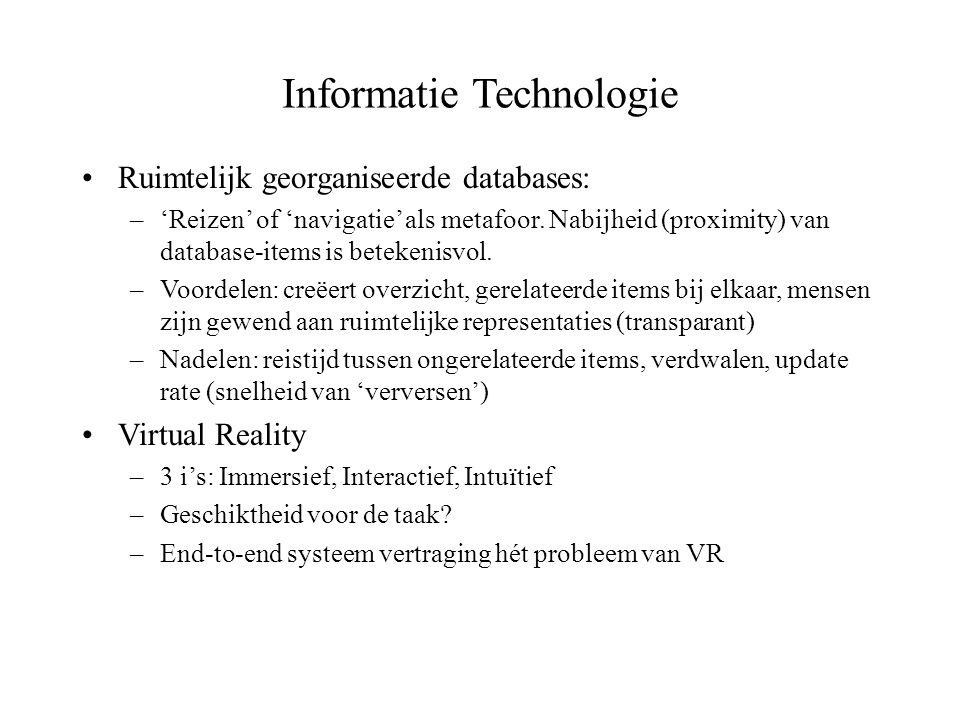 Informatie Technologie Ruimtelijk georganiseerde databases: –'Reizen' of 'navigatie' als metafoor. Nabijheid (proximity) van database-items is beteken
