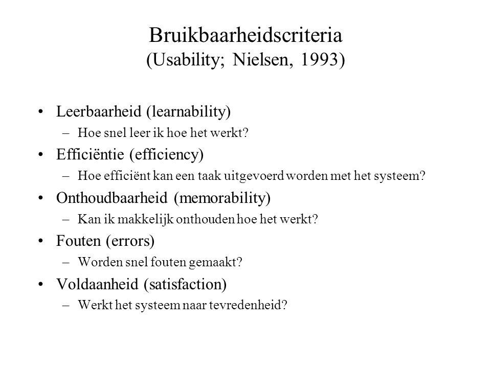 Bruikbaarheidscriteria (Usability; Nielsen, 1993) Leerbaarheid (learnability) –Hoe snel leer ik hoe het werkt? Efficiëntie (efficiency) –Hoe efficiënt