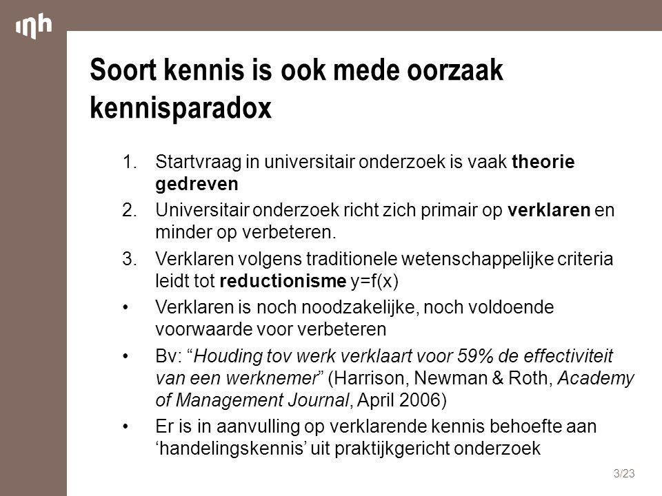Soort kennis is ook mede oorzaak kennisparadox 1.Startvraag in universitair onderzoek is vaak theorie gedreven 2.Universitair onderzoek richt zich pri