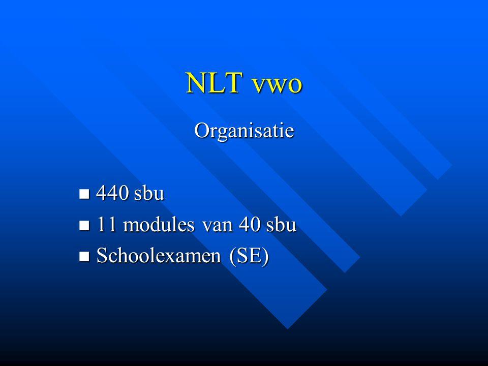 NLT vwo Organisatie 440 sbu 440 sbu 11 modules van 40 sbu 11 modules van 40 sbu Schoolexamen (SE) Schoolexamen (SE)