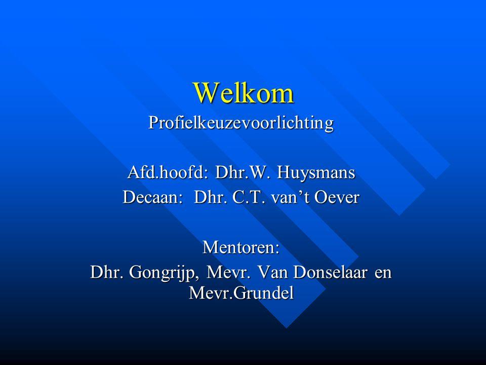 Welkom Profielkeuzevoorlichting Afd.hoofd: Dhr.W.Huysmans Decaan: Dhr.
