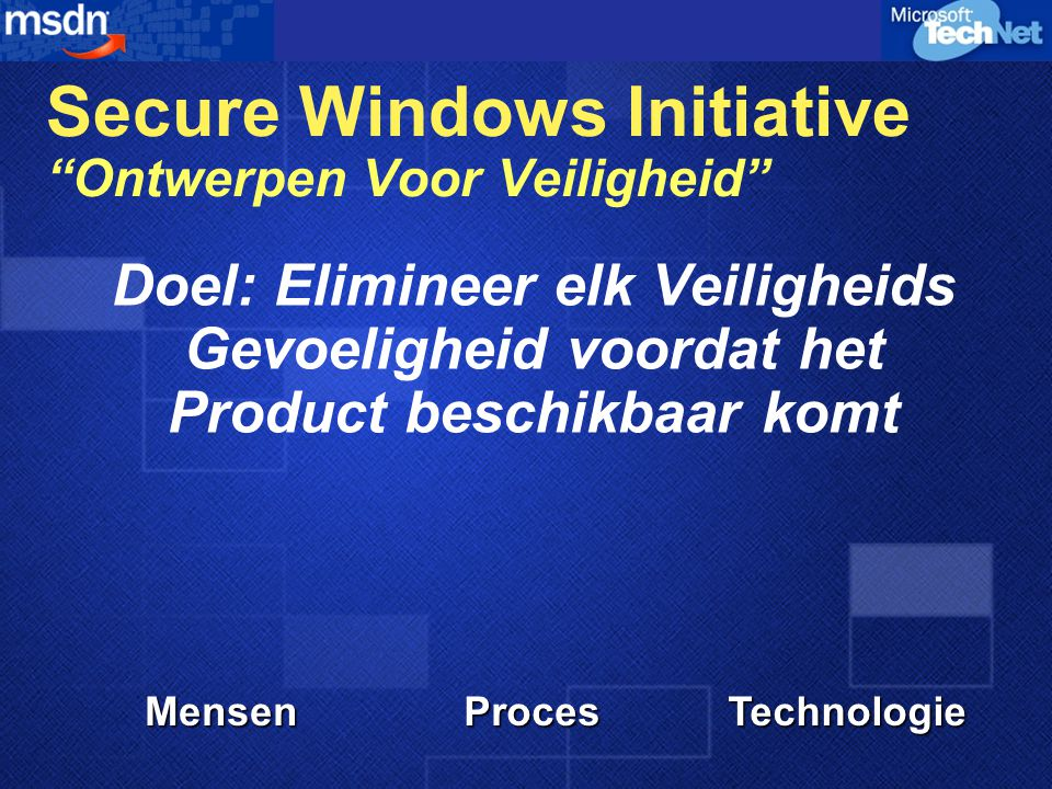 Doel: Help Klanten Hun Windows Systemen Beveiligen MensenProcesTechnologie Strategic Technology Protection Program