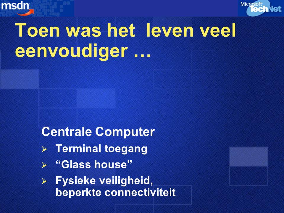 Toen was het leven veel eenvoudiger … Client-Server  LAN connectiviteit  File/print services  Beperkte externe toegang