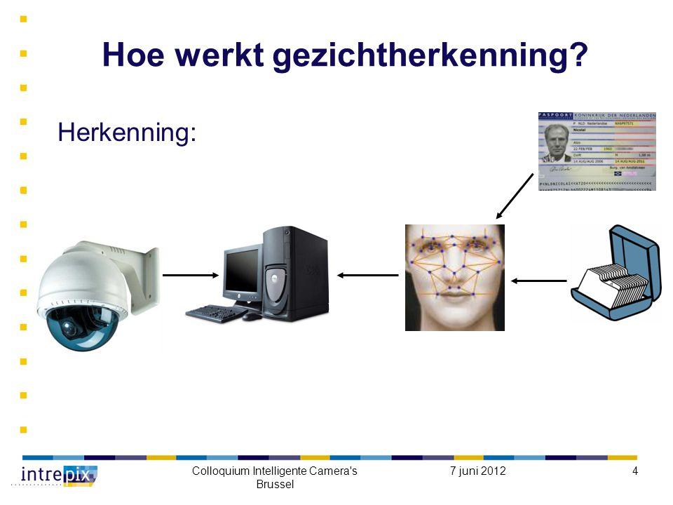 7 juni 2012Colloquium Intelligente Camera s Brussel 4 Hoe werkt gezichtherkenning Herkenning: