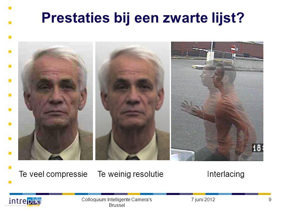 7 juni 2012Colloquium Intelligente Camera s Brussel 9 Prestaties bij een zwarte lijst.