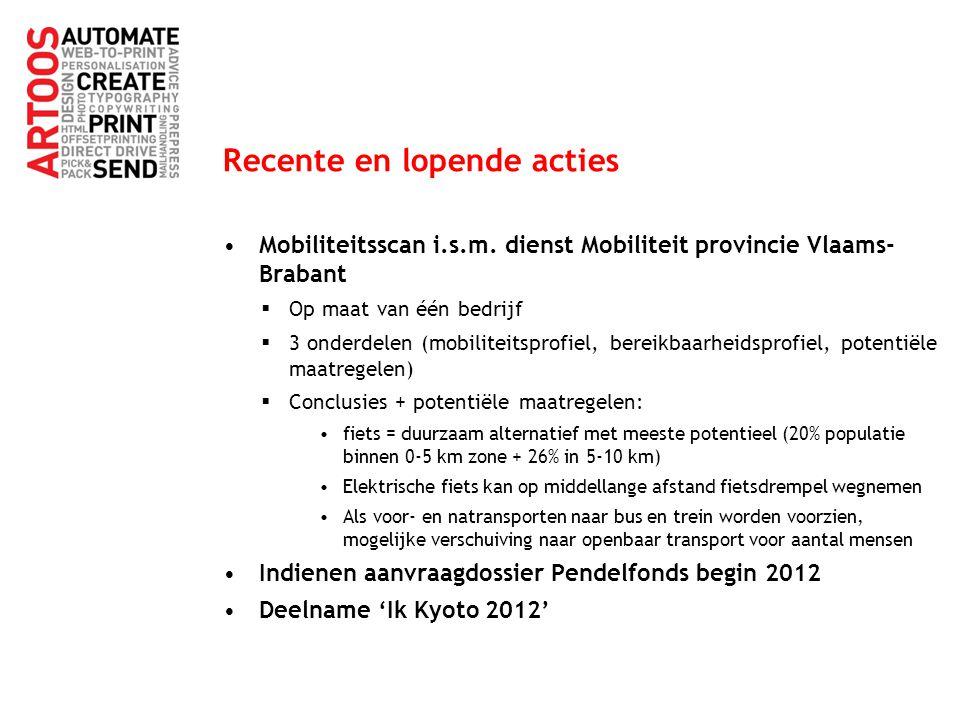 Recente en lopende acties Mobiliteitsscan i.s.m. dienst Mobiliteit provincie Vlaams- Brabant  Op maat van één bedrijf  3 onderdelen (mobiliteitsprof