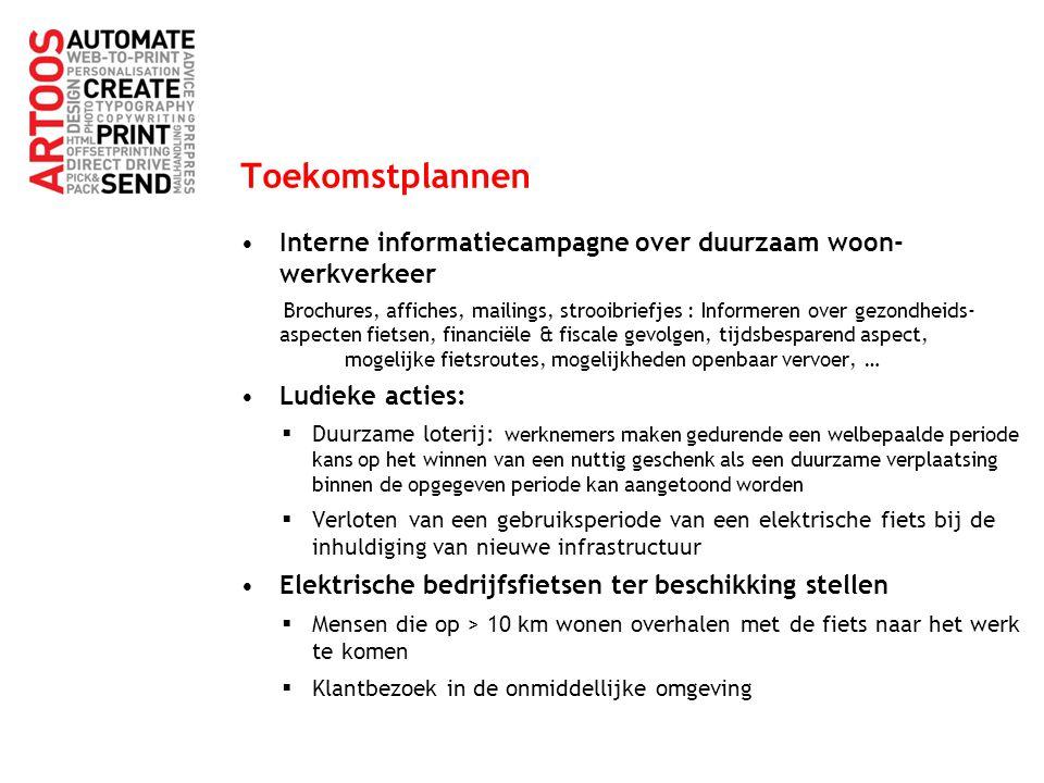 Toekomstplannen Interne informatiecampagne over duurzaam woon- werkverkeer Brochures, affiches, mailings, strooibriefjes : Informeren over gezondheids