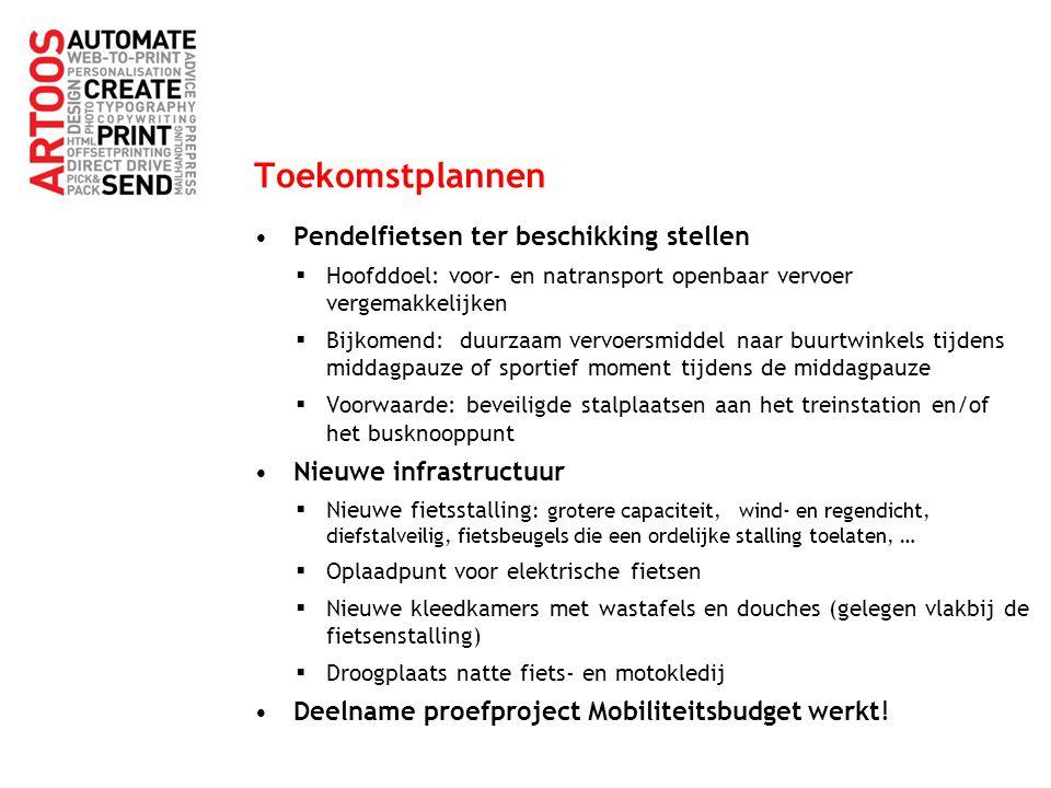 Toekomstplannen Pendelfietsen ter beschikking stellen  Hoofddoel: voor- en natransport openbaar vervoer vergemakkelijken  Bijkomend: duurzaam vervoe