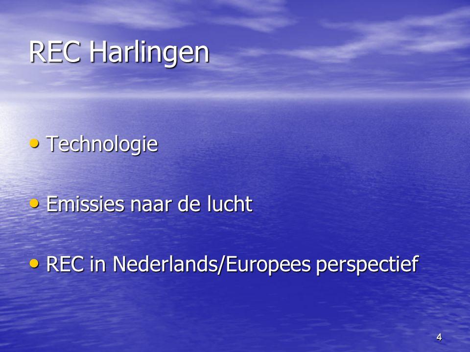 4 REC Harlingen Technologie Technologie Emissies naar de lucht Emissies naar de lucht REC in Nederlands/Europees perspectief REC in Nederlands/Europee