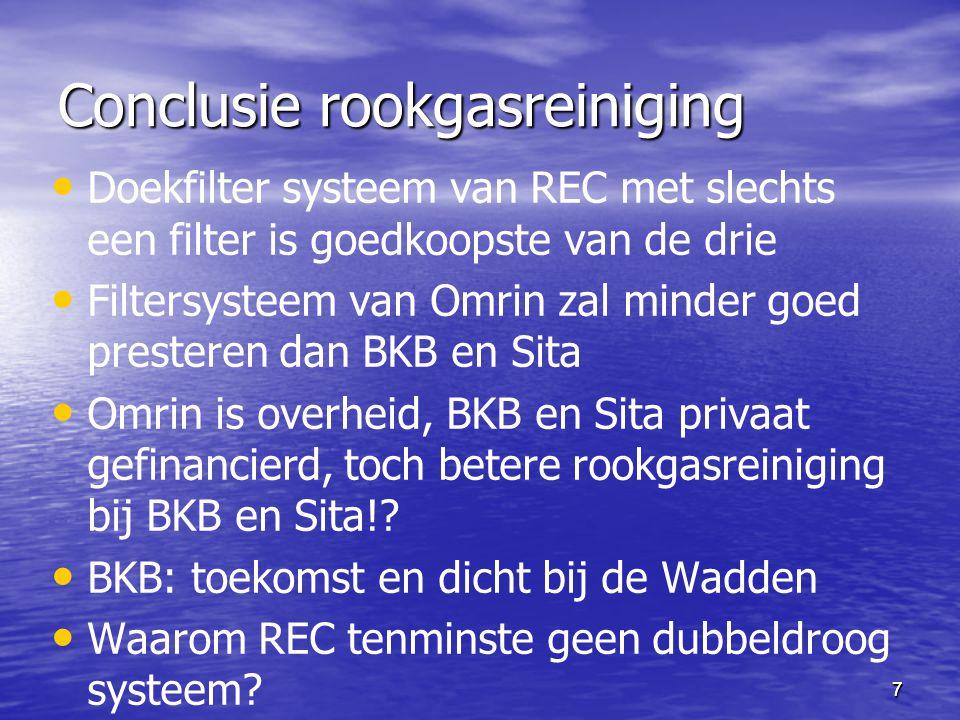 77 Conclusie rookgasreiniging Doekfilter systeem van REC met slechts een filter is goedkoopste van de drie Filtersysteem van Omrin zal minder goed pre