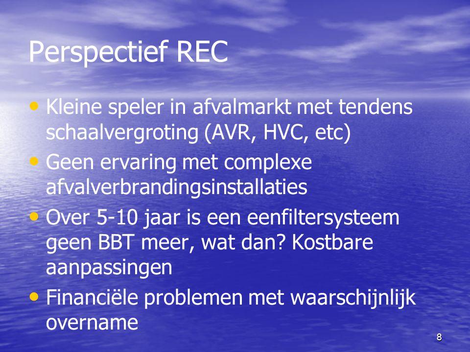 8 Perspectief REC Kleine speler in afvalmarkt met tendens schaalvergroting (AVR, HVC, etc) Geen ervaring met complexe afvalverbrandingsinstallaties Ov