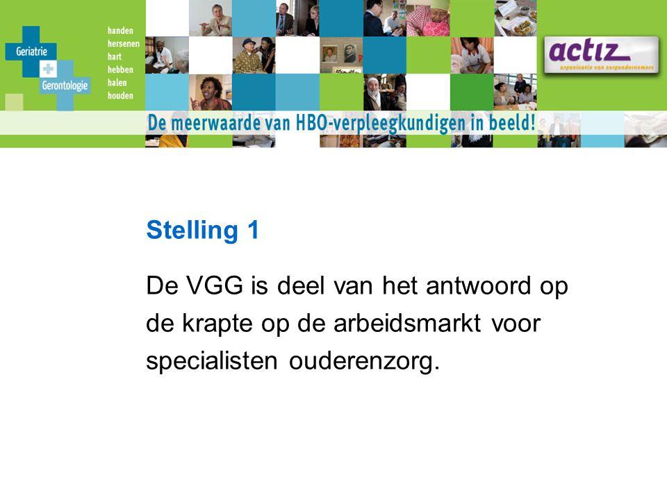 Stelling 1 De VGG is deel van het antwoord op de krapte op de arbeidsmarkt voor specialisten ouderenzorg.