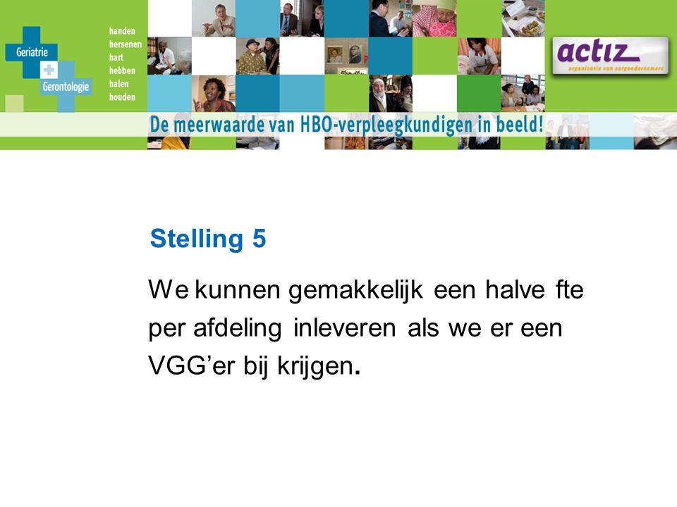 Stelling 5 We kunnen gemakkelijk een halve fte per afdeling inleveren als we er een VGG'er bij krijgen.