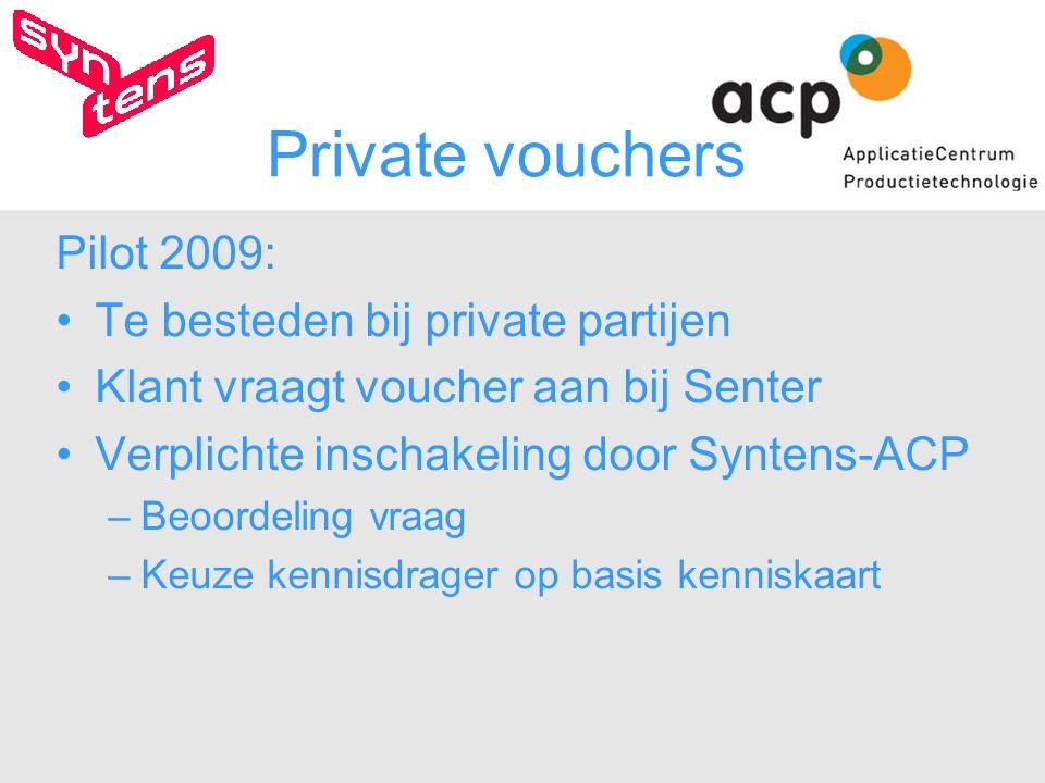 Private vouchers Pilot 2009: Te besteden bij private partijen Klant vraagt voucher aan bij Senter Verplichte inschakeling door Syntens-ACP –Beoordeling vraag –Keuze kennisdrager op basis kenniskaart
