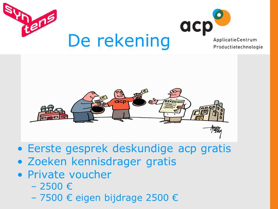 De rekening Eerste gesprek deskundige acp gratis Zoeken kennisdrager gratis Private voucher –2500 € –7500 € eigen bijdrage 2500 €