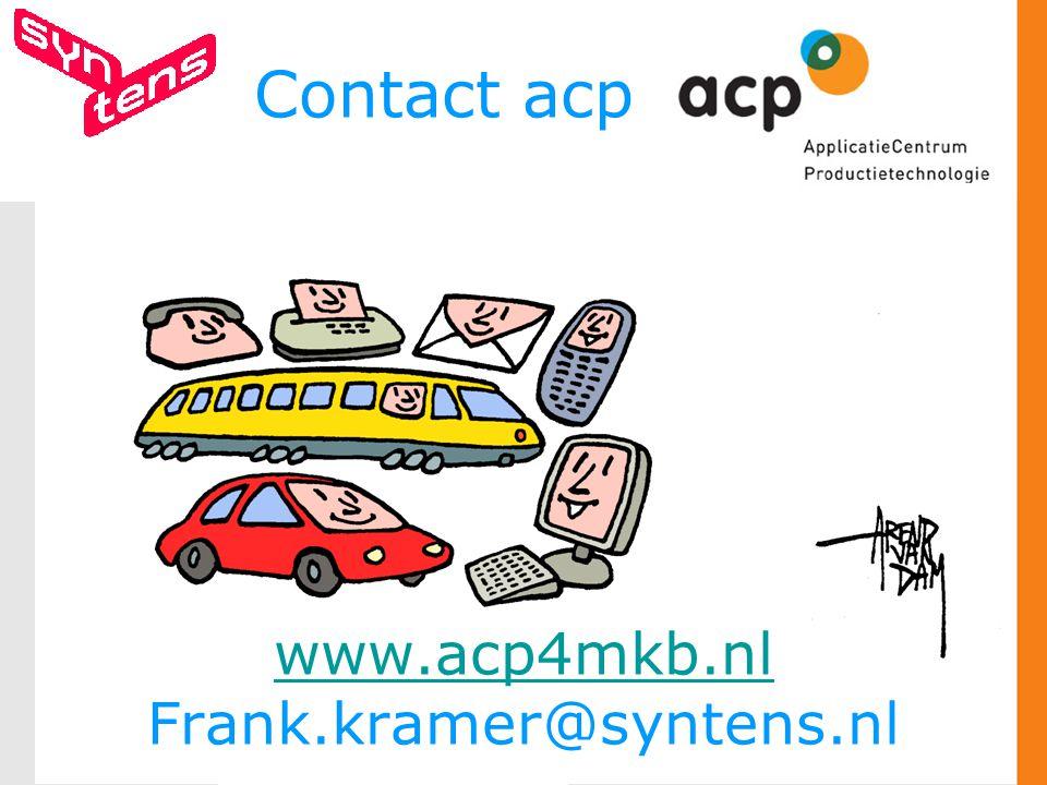 Contact acp www.acp4mkb.nl Frank.kramer@syntens.nl