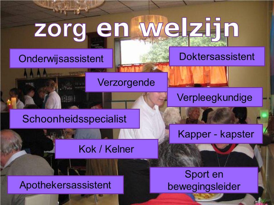 Onderwijsassistent Verzorgende Doktersassistent Verpleegkundige Schoonheidsspecialist Kapper - kapster Kok / Kelner Apothekersassistent Sport en beweg
