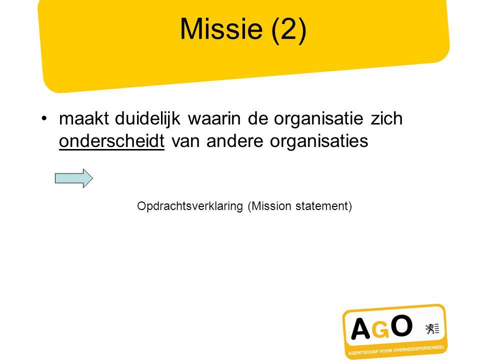 Missie (2) maakt duidelijk waarin de organisatie zich onderscheidt van andere organisaties Opdrachtsverklaring (Mission statement)