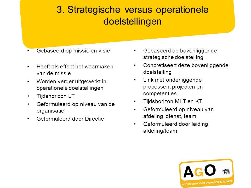 3. Strategische versus operationele doelstellingen Gebaseerd op missie en visie Heeft als effect het waarmaken van de missie Worden verder uitgewerkt