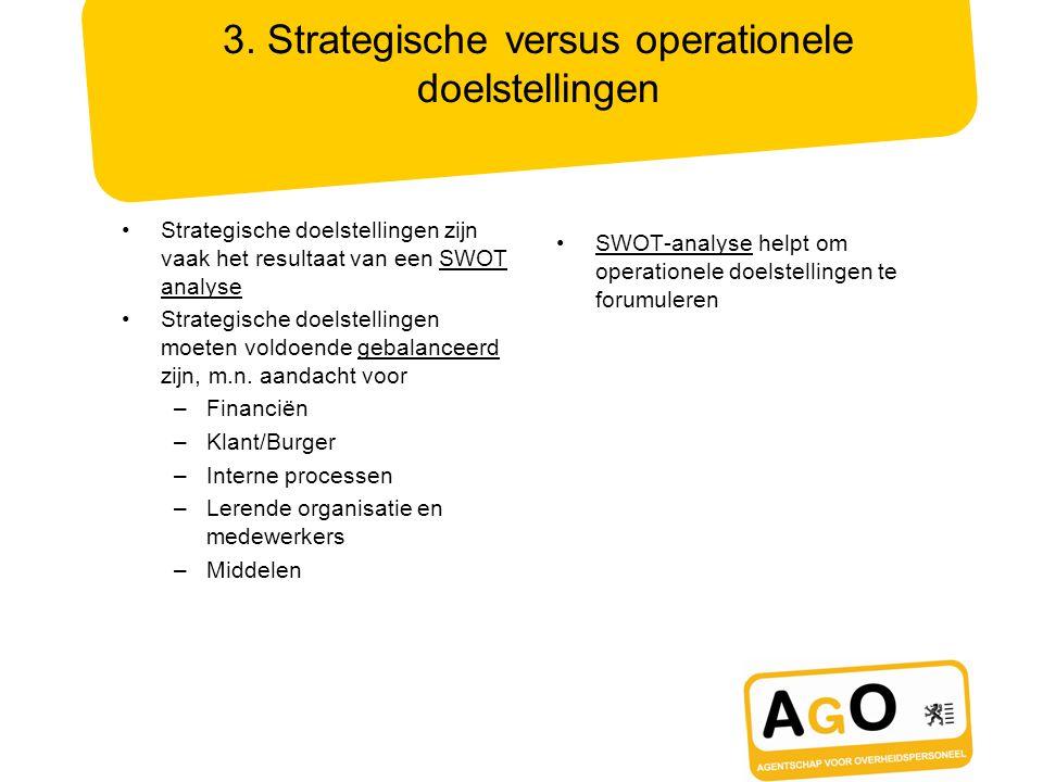 3. Strategische versus operationele doelstellingen Strategische doelstellingen zijn vaak het resultaat van een SWOT analyse Strategische doelstellinge