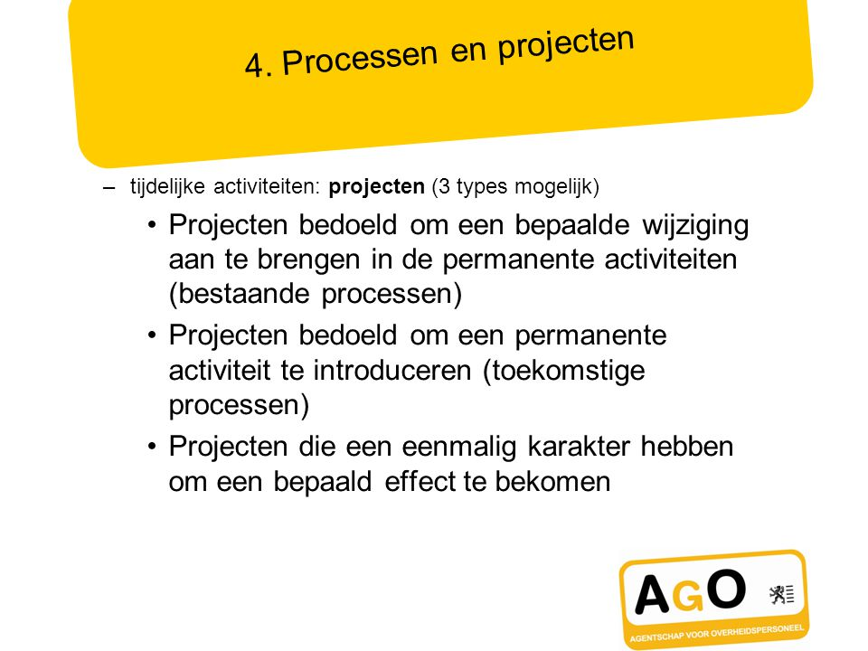 Mission Operationele DoelstellingenProcessen / ProjectenStrategische Doelstellingen MissieVisie Strategische Doelstelling 1 Operationele Doelstelling 1.1 Stragegische Doelstelling 2 Operationele Doelstelling 2.1 Operationele Doelstelling… Project 1.1.1 -Voorrang -Budget -Team Proces 1.1.3 -Voorrang -Team -Budget Project 1.1.2 -Voorrang -Team -Budget 5.