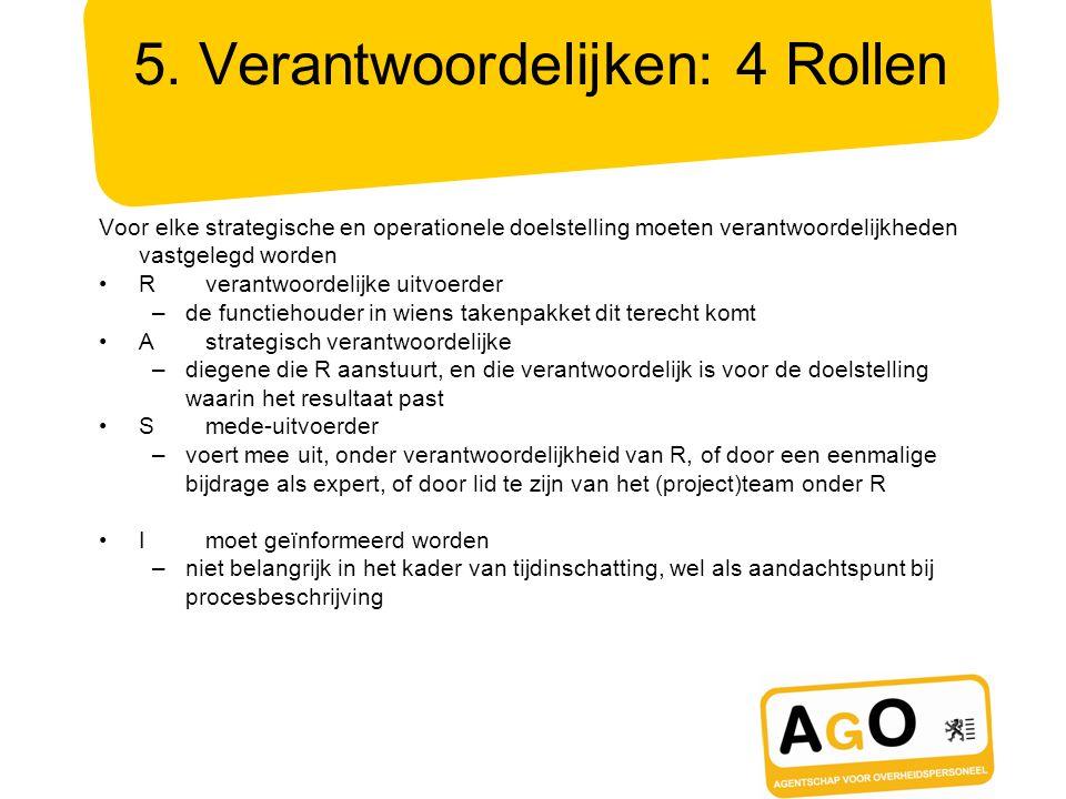5. Verantwoordelijken: 4 Rollen Voor elke strategische en operationele doelstelling moeten verantwoordelijkheden vastgelegd worden Rverantwoordelijke
