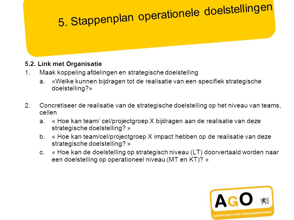 5.Stappenplan operationele doelstellingen 5.2.
