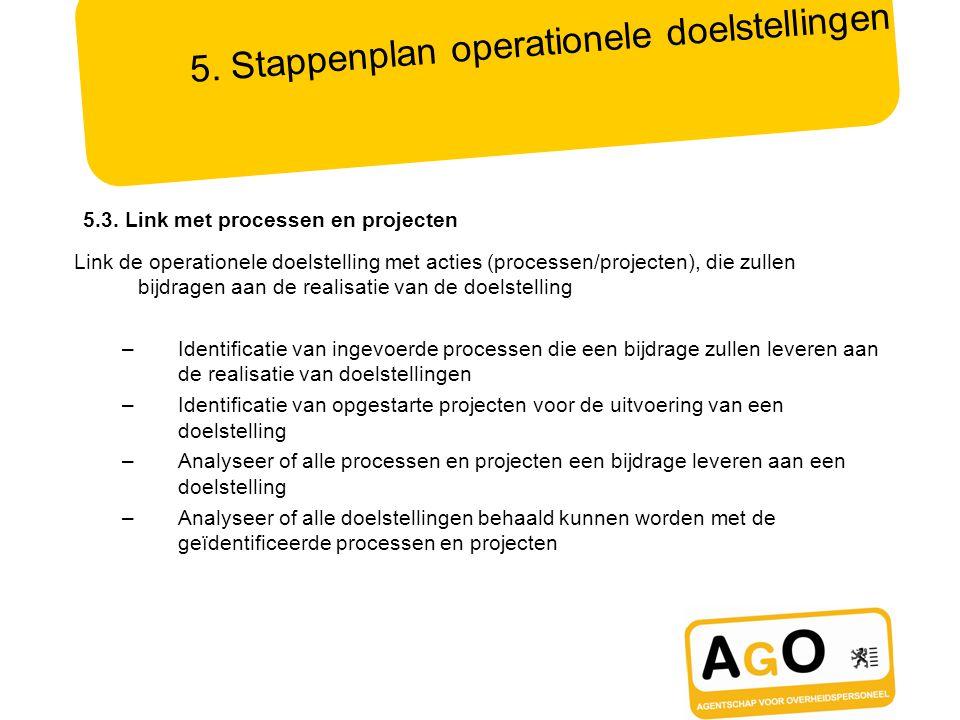 5. Stappenplan operationele doelstellingen Link de operationele doelstelling met acties (processen/projecten), die zullen bijdragen aan de realisatie