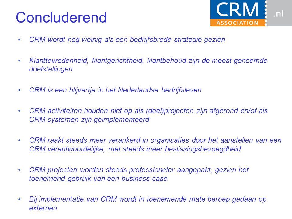 Concluderend CRM wordt nog weinig als een bedrijfsbrede strategie gezien Klanttevredenheid, klantgerichtheid, klantbehoud zijn de meest genoemde doelstellingen CRM is een blijvertje in het Nederlandse bedrijfsleven CRM activiteiten houden niet op als (deel)projecten zijn afgerond en/of als CRM systemen zijn geimplementeerd CRM raakt steeds meer verankerd in organisaties door het aanstellen van een CRM verantwoordelijke, met steeds meer beslissingsbevoegdheid CRM projecten worden steeds professioneler aangepakt, gezien het toenemend gebruik van een business case Bij implementatie van CRM wordt in toenemende mate beroep gedaan op externen