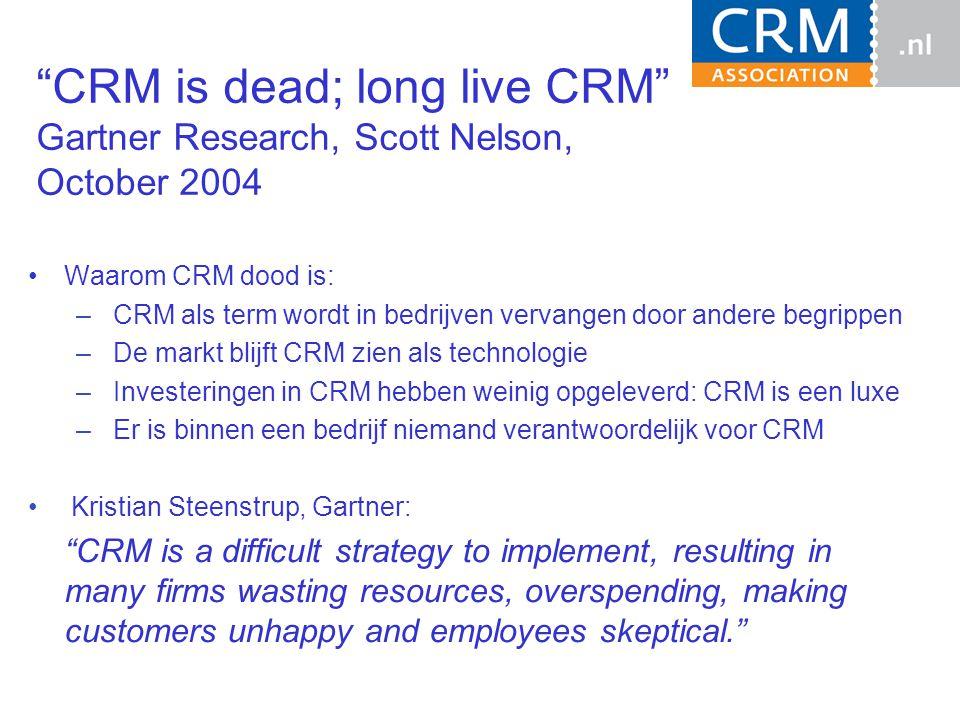 """""""CRM is dead; long live CRM"""" Gartner Research, Scott Nelson, October 2004 Waarom CRM dood is: – CRM als term wordt in bedrijven vervangen door andere"""