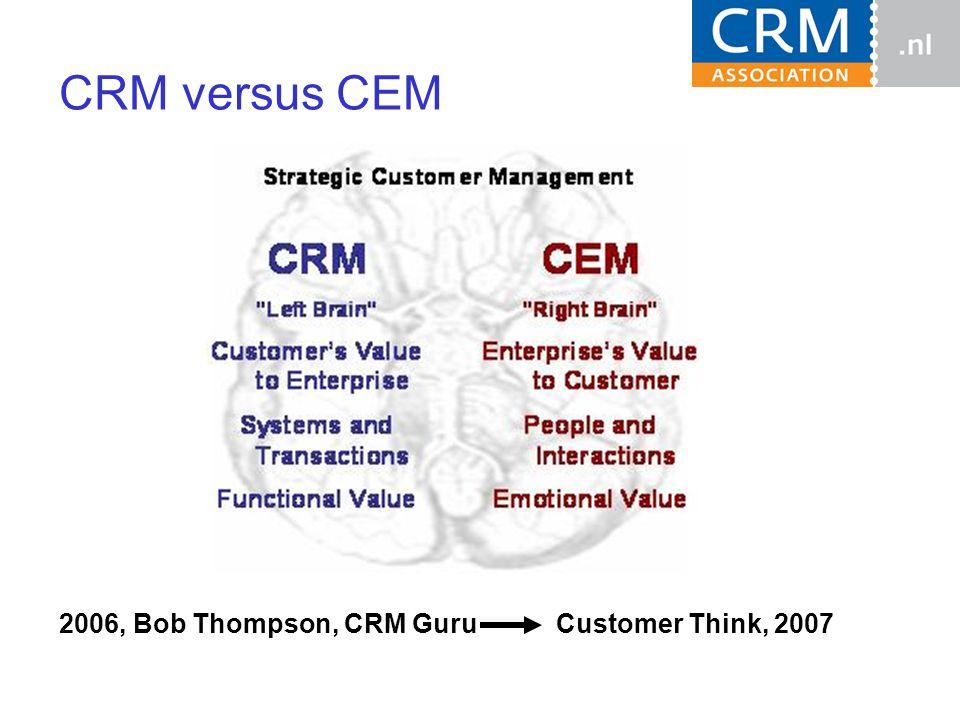 CRM versus CEM 2006, Bob Thompson, CRM Guru Customer Think, 2007
