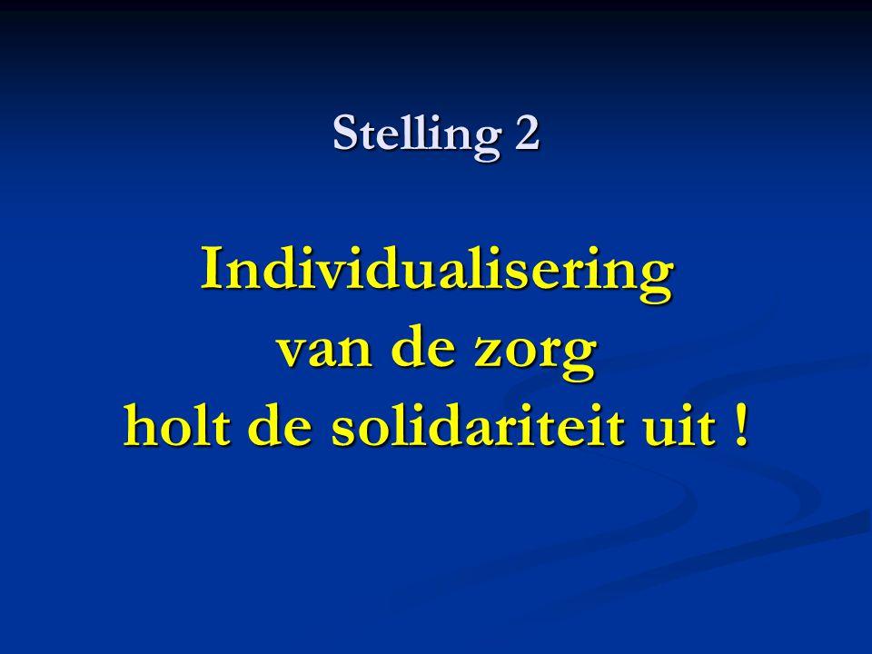 Stelling 2 Individualisering van de zorg holt de solidariteit uit !