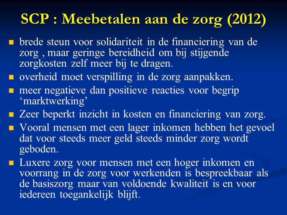 SCP : Meebetalen aan de zorg (2012) brede steun voor solidariteit in de financiering van de zorg, maar geringe bereidheid om bij stijgende zorgkosten zelf meer bij te dragen.