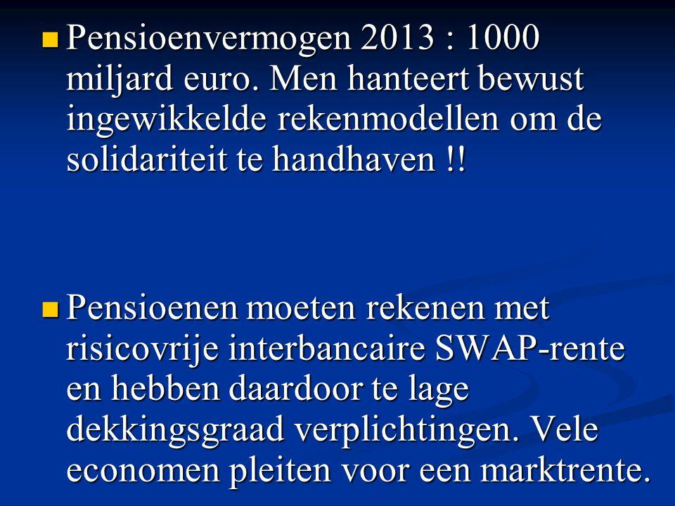 Pensioenvermogen 2013 : 1000 miljard euro. Men hanteert bewust ingewikkelde rekenmodellen om de solidariteit te handhaven !! Pensioenvermogen 2013 : 1