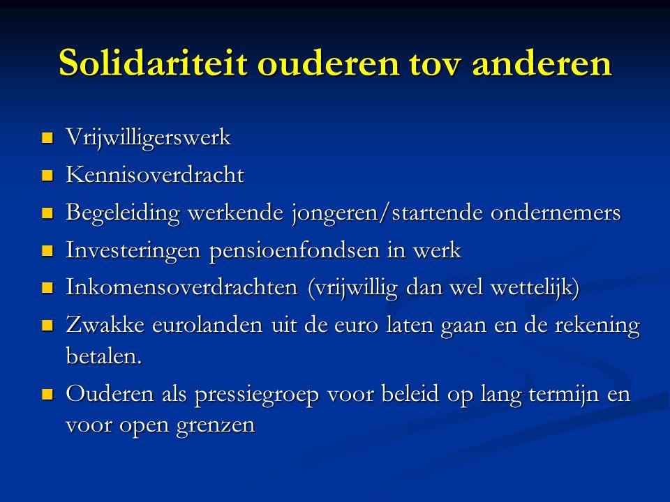 Solidariteit ouderen tov anderen Vrijwilligerswerk Vrijwilligerswerk Kennisoverdracht Kennisoverdracht Begeleiding werkende jongeren/startende onderne