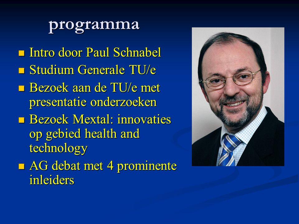 programma Intro door Paul Schnabel Intro door Paul Schnabel Studium Generale TU/e Studium Generale TU/e Bezoek aan de TU/e met presentatie onderzoeken