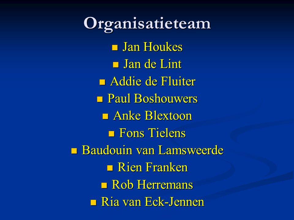 Organisatieteam Jan Houkes Jan Houkes Jan de Lint Jan de Lint Addie de Fluiter Addie de Fluiter Paul Boshouwers Paul Boshouwers Anke Blextoon Anke Ble