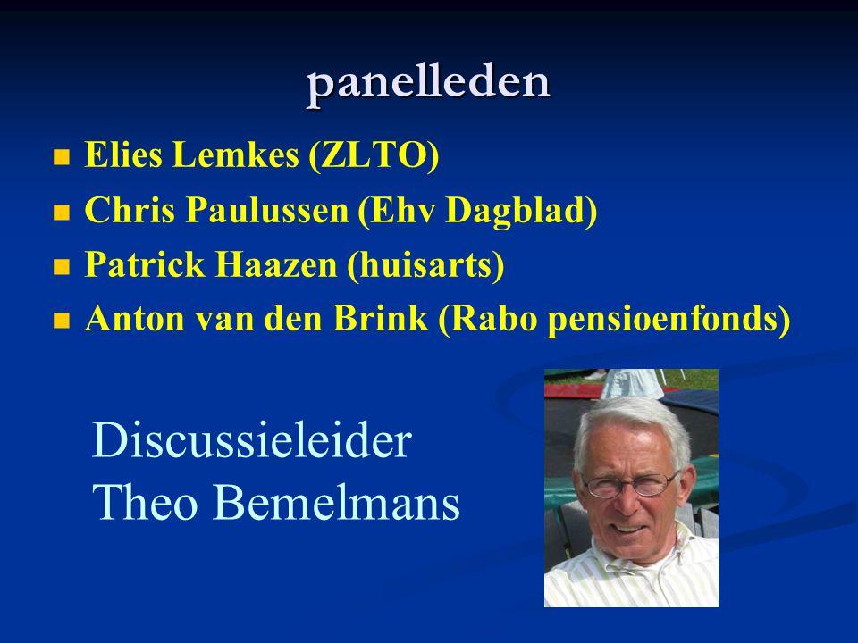 panelleden Elies Lemkes (ZLTO) Chris Paulussen (Ehv Dagblad) Patrick Haazen (huisarts) Anton van den Brink (Rabo pensioenfonds ) Discussieleider Theo
