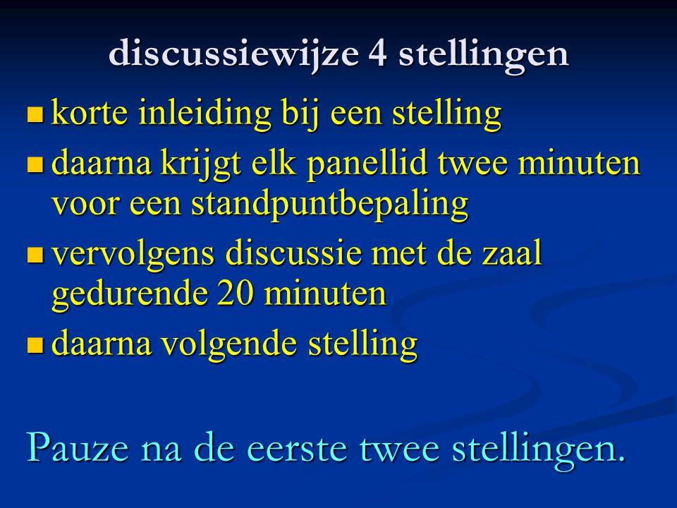 discussiewijze 4 stellingen korte inleiding bij een stelling korte inleiding bij een stelling daarna krijgt elk panellid twee minuten voor een standpu