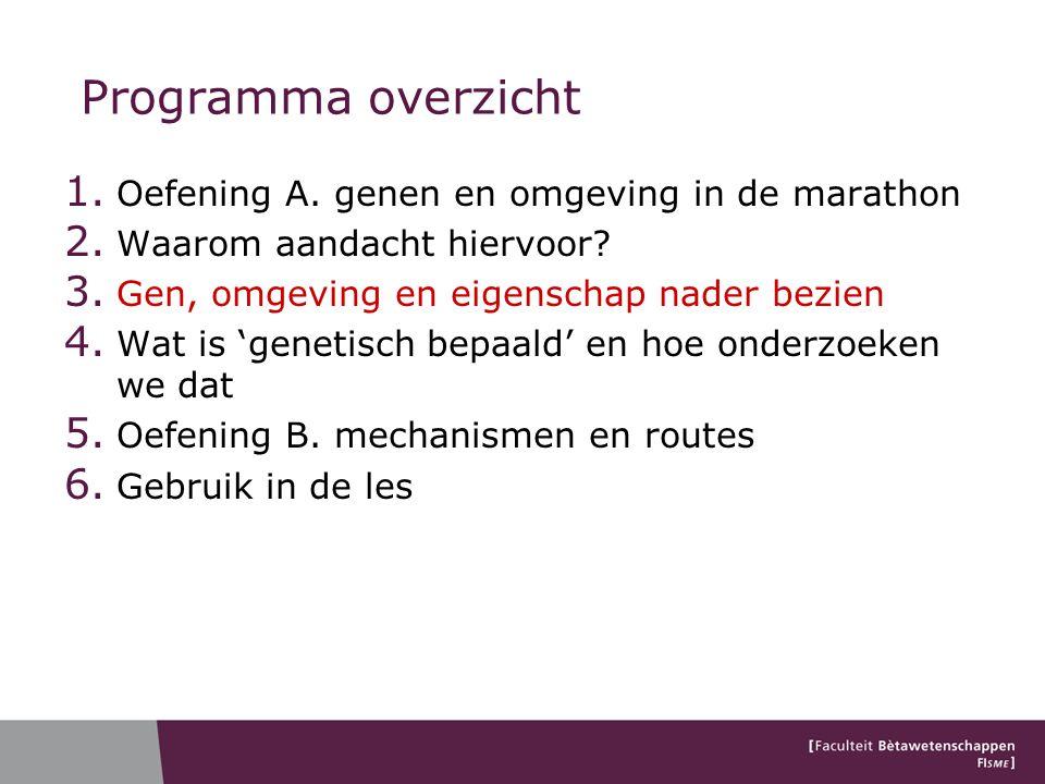 Programma overzicht 1. Oefening A. genen en omgeving in de marathon 2. Waarom aandacht hiervoor? 3. Gen, omgeving en eigenschap nader bezien 4. Wat is