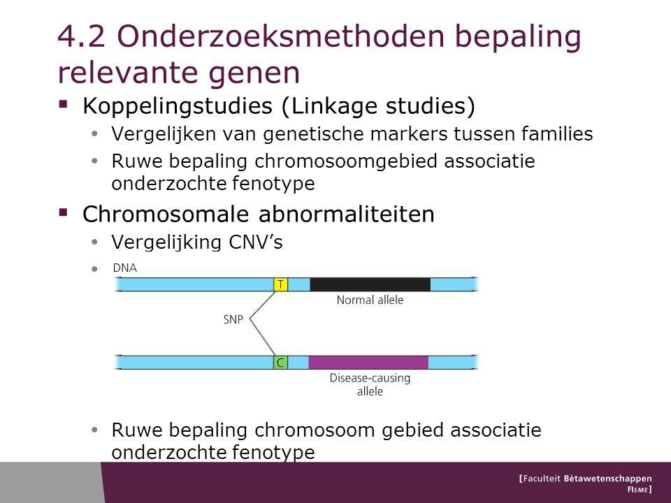 4.2 Onderzoeksmethoden bepaling relevante genen  Koppelingstudies (Linkage studies) Vergelijken van genetische markers tussen families Ruwe bepaling