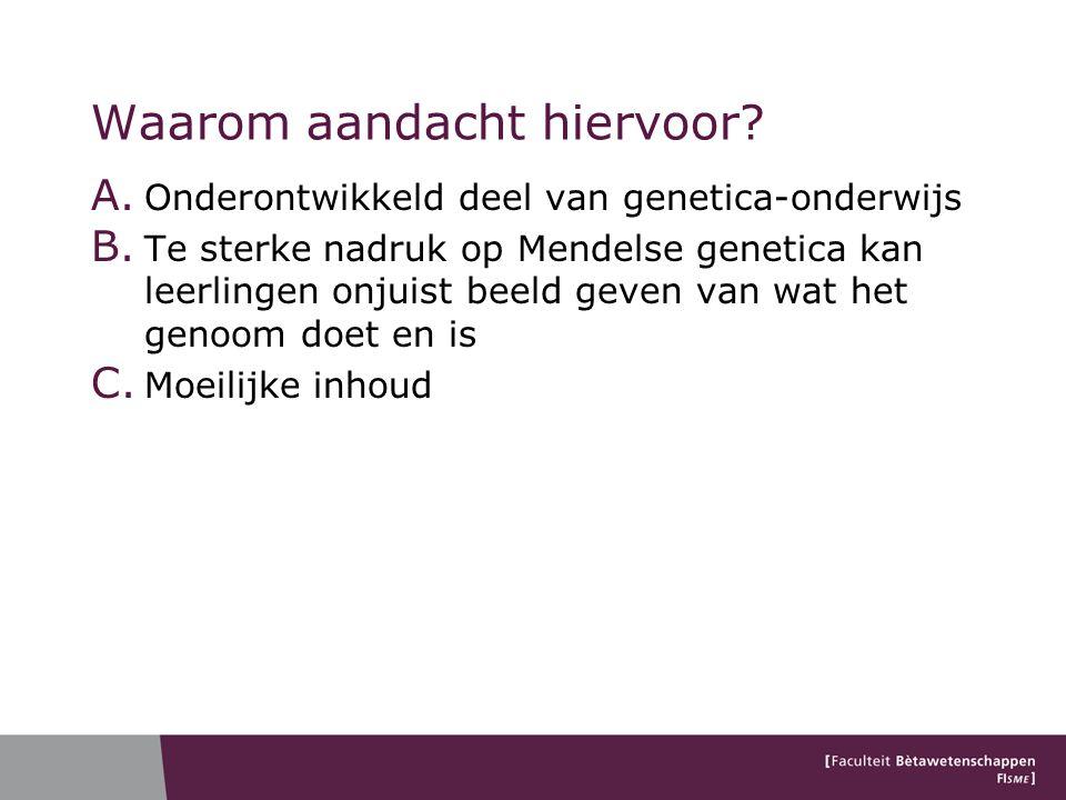 Waarom aandacht hiervoor.A. Onderontwikkeld deel van genetica-onderwijs B.