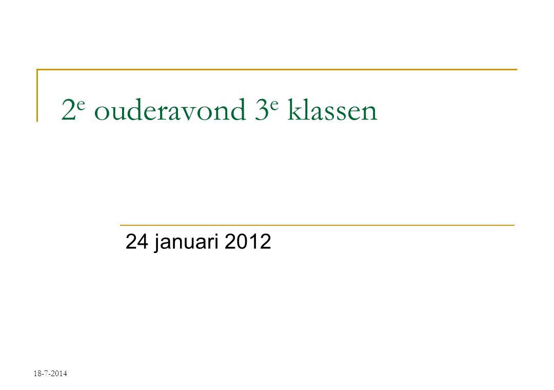 18-7-2014 2 e ouderavond 3 e klassen 24 januari 2012