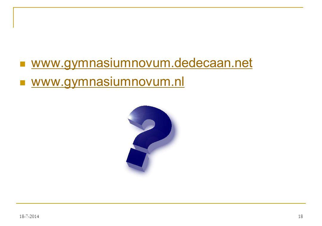 18-7-201418 www.gymnasiumnovum.dedecaan.net www.gymnasiumnovum.nl
