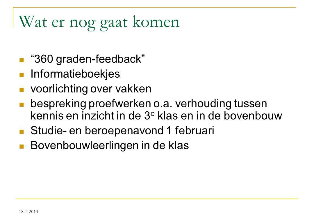 18-7-2014 Wat er nog gaat komen 360 graden-feedback Informatieboekjes voorlichting over vakken bespreking proefwerken o.a.