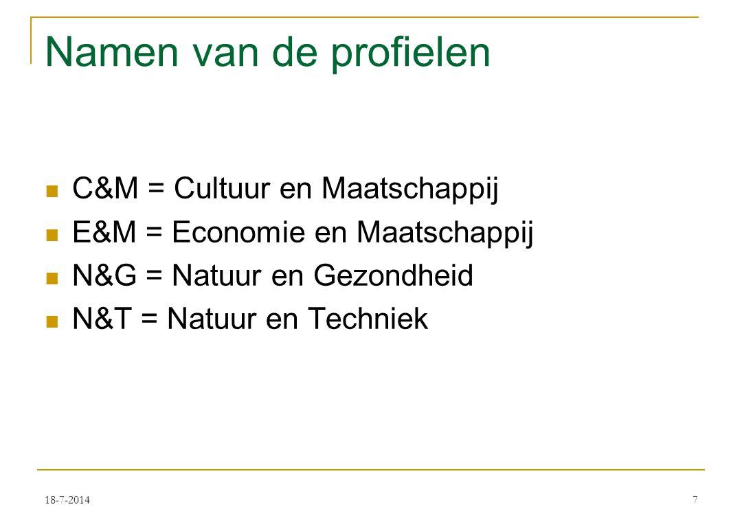 18-7-20147 Namen van de profielen C&M = Cultuur en Maatschappij E&M = Economie en Maatschappij N&G = Natuur en Gezondheid N&T = Natuur en Techniek
