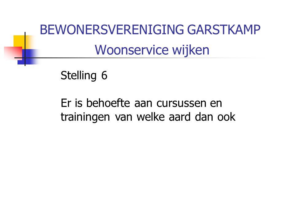 BEWONERSVERENIGING GARSTKAMP Woonservice wijken Stelling 6 Er is behoefte aan cursussen en trainingen van welke aard dan ook